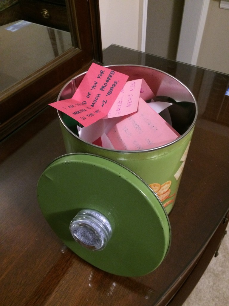 """For Christmas, my three daughters wrote """"love notes"""" on bits of paper and put them in this vintage cookie tin. It was one of the loveliest and most thoughtful gifts I've ever received. The tin is just like a tin from my childhood home."""